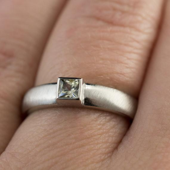 Princess Cut Creamy Sapphire Ring in Silver Palladium Modern Bezel Set
