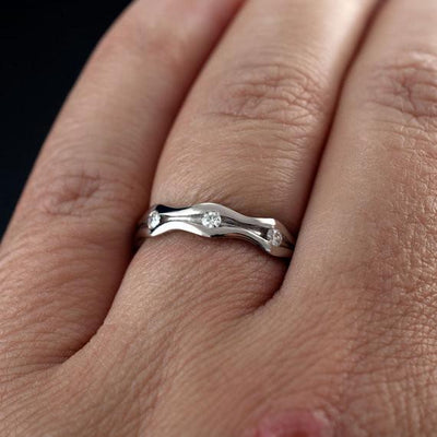 Wave Moissanite Eternity Wedding Ring - by Nodeform