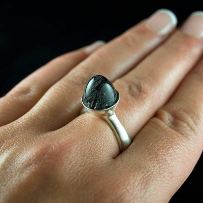 Luna Statement Ring with Bullet Tourmalinated Quartz Cabochon - by Nodeform
