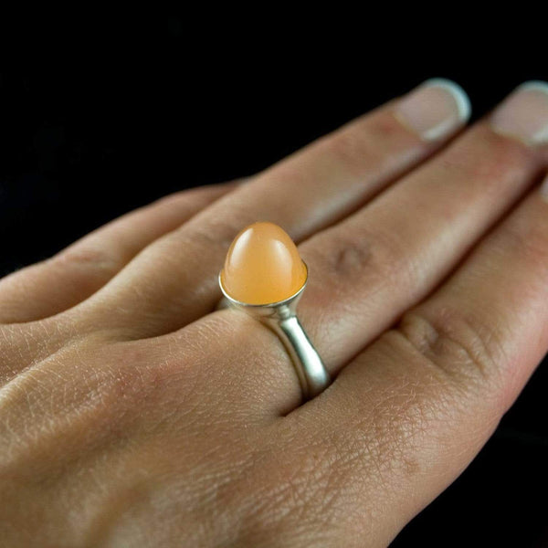 Peach Moonestone Luna Statement Ring, Bullet Moonstone Cabochon - by Nodeform