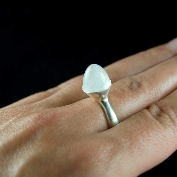 Luna White Moonestone Statement Ring, Bullet Moonstone Cabochon - by Nodeform
