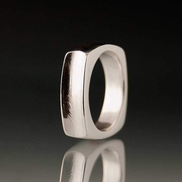 Square Grooved Wedding Band Ring