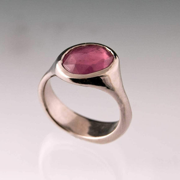 Rose Cut Pink Sapphire Palladium Pebble Ring, Ready To Ship size 6-8