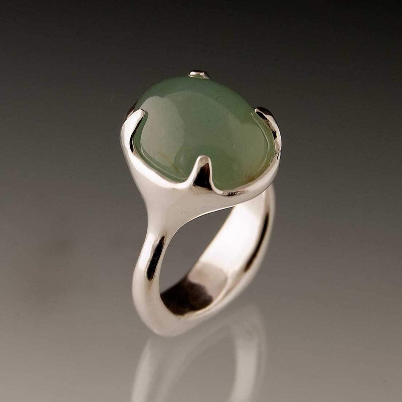 Aquamarine Cabochon Sterling Silver Prong Gemstone Statement Ring, Ready to Ship size 6 to 7.5