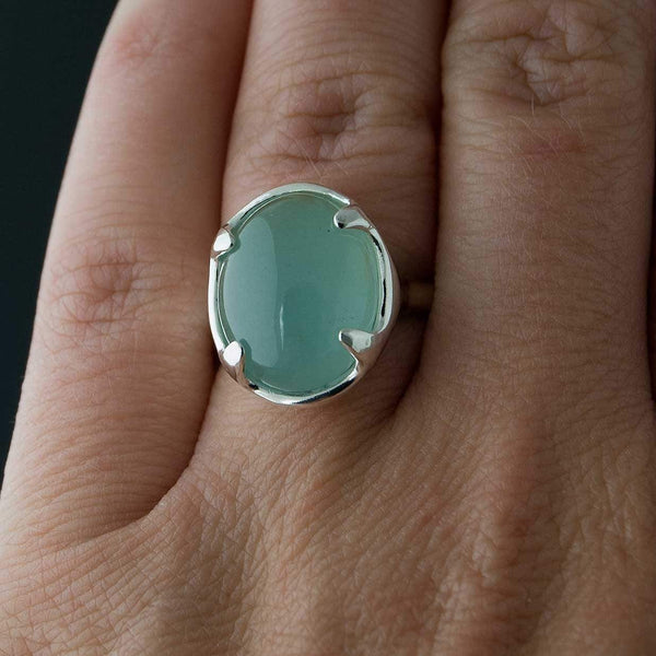 Aquamarine Cabochon Sterling Silver Prong Gemstone Statement Ring, Ready to Ship size 6 to 7.5 - by Nodeform