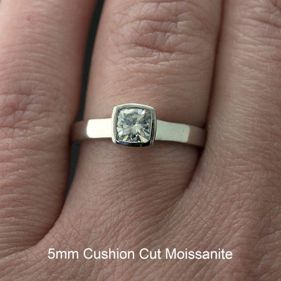 Cushion Moissanite Bezel Engagement Ring and Wedding Band Bridal Set - by Nodeform