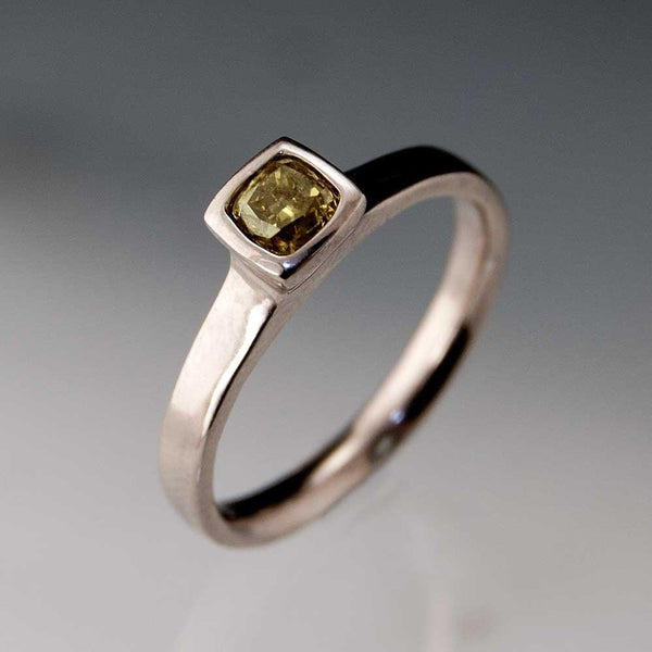 Olive green Fancy 0.35ct Radiant/ Cushion Cut Diamond Bezel Set Solitaire Engagement Ring - by Nodeform
