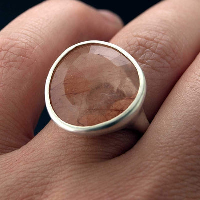 Pebble Ring - Large Rose Cut Rutile Quartz Sterling Silver Gemstone Ring, Ready to Ship size 7.5