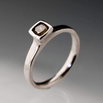 Brown Fancy 0.3ct Radiant Cut Diamond Bezel Set Solitaire Engagement Ring - by Nodeform