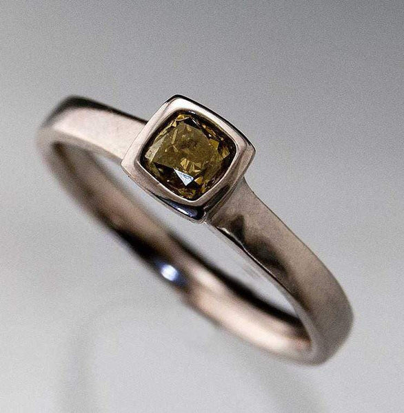 Olive green Fancy 0.35ct Radiant Cut Diamond Bezel Set Solitaire Engagement Ring, Silver/Palladium size 6 to 8