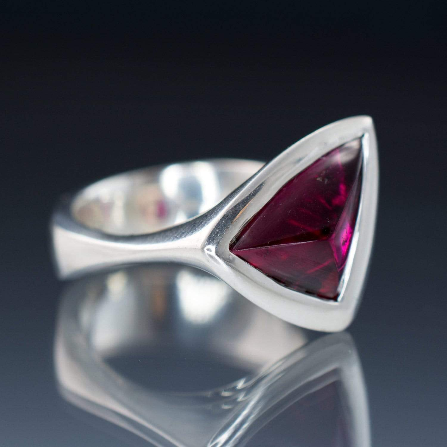 Rubellite Tourmaline Ring Tetra Gemstone Statement Ring, Ready to Ship size 5.5 to 8 - by Nodeform