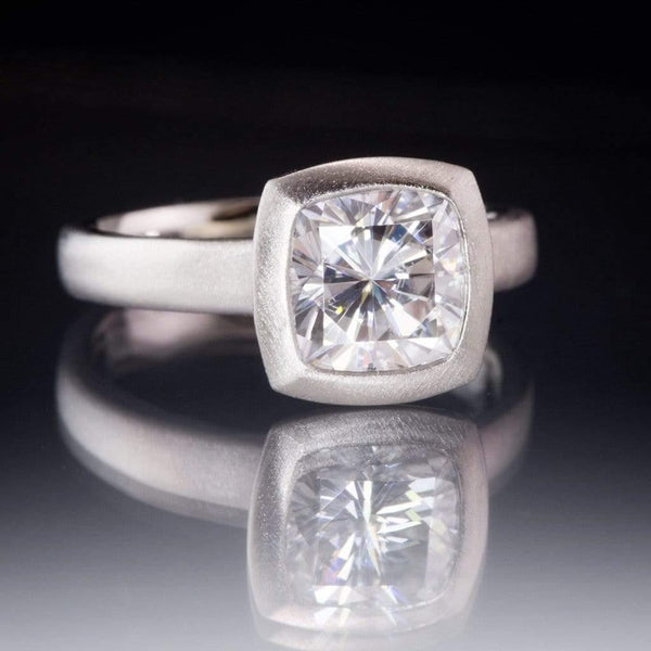 7.5mm/1.8ct Cushion Supernova Moissanite Bezel Set Solitaire Engagement Ring, Ready to Ship - by Nodeform