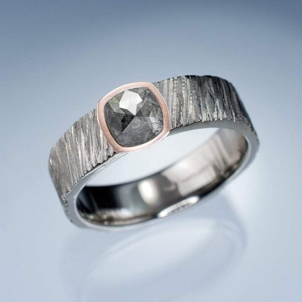 Custom Order, Cushion Dark Gray Rose Cut Diamond 14k Rose Gold Bezel Set Saw Textured Ring