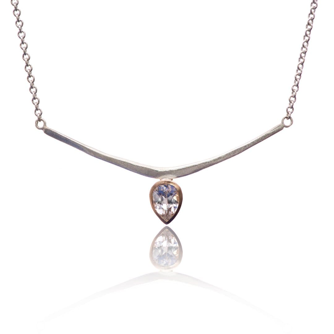 Pear White Lab Sapphire Curved Bar Necklace in 14k Rose Gold & Sterling Silver, Ready to ship