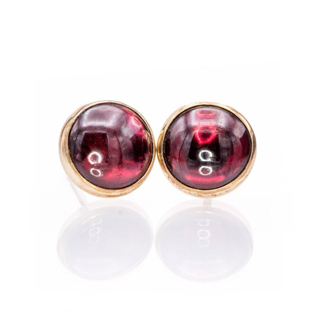 Large Garnet Cabochon Studs Earrings in 14k Gold Filled, Ready to Ship