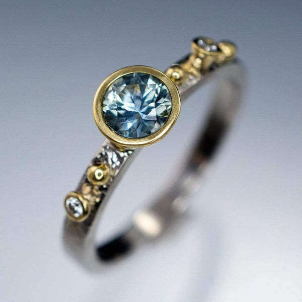 Engagement Ring Blue / Green Eldorado Bar Montana Sapphire & Diamond Gold Accents