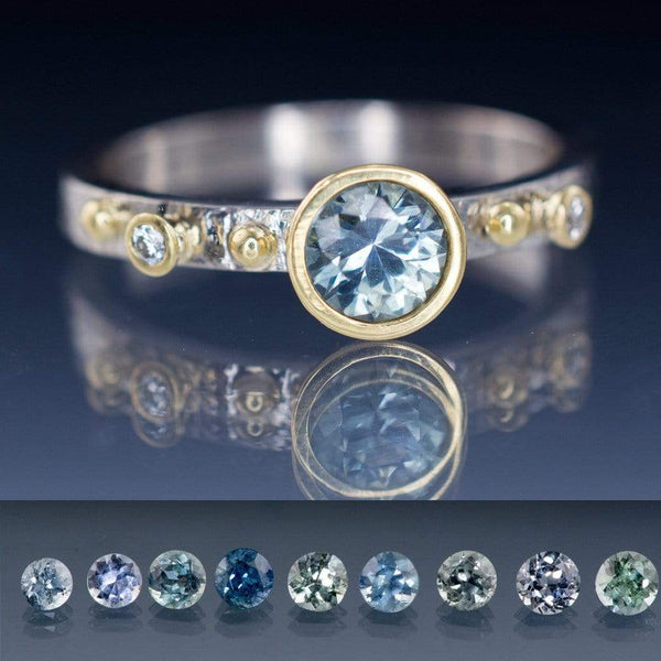 Engagement Ring Blue / Green Eldorado Bar Montana Sapphire & Diamond Gold Accents - by Nodeform