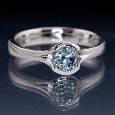 Pastel Light Blue Fair Trade Montana Sapphire Round Fold Solitaire Engagement Ring