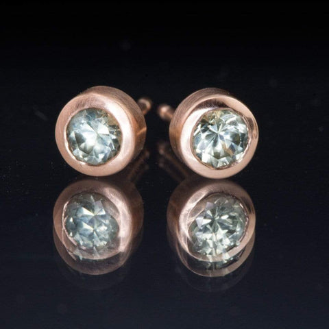 Light Green Montana Sapphire Rose Gold Bezel Stud Earrings, Ready to Ship