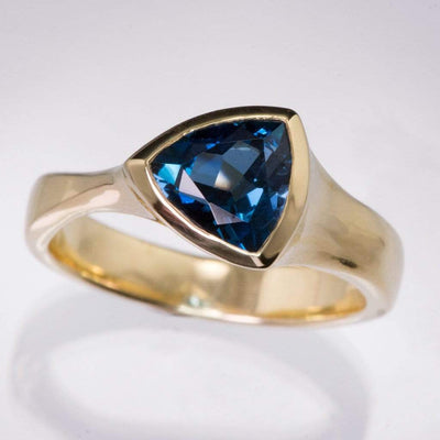 Trillion London Blue Topaz Bezel Solitaire Statement Ring