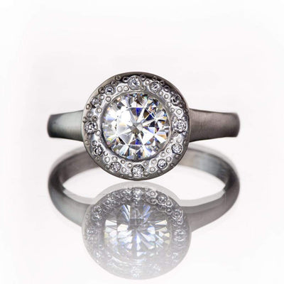 Round 1ct Moissanite Low Profile Diamond Star Dust Halo Bezel Palladium Engagement Ring, Size 5-8