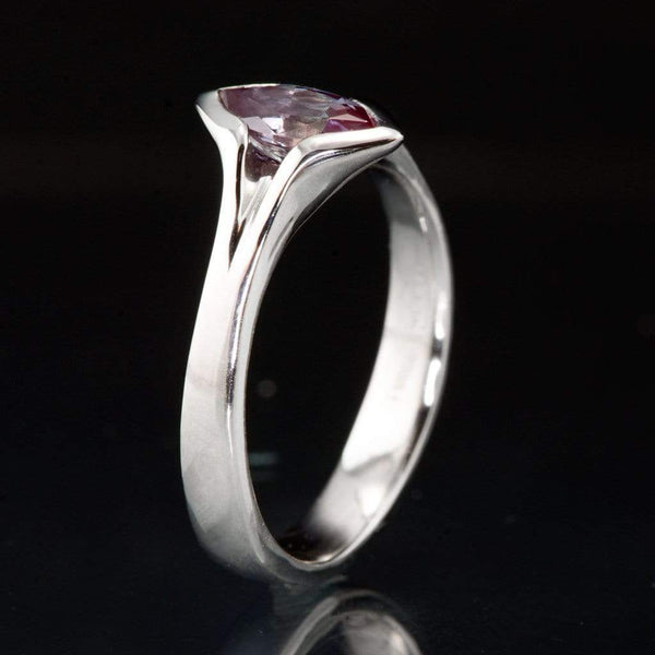 Chatham Marquise Alexandrite Semi-Bezel Solitaire Engagement Ring