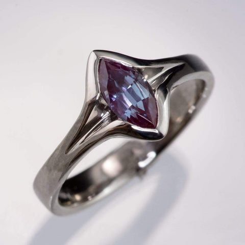 Chatham Marquise Alexandrite Semi-Bezel Solitaire Engagement Ring - by Nodeform