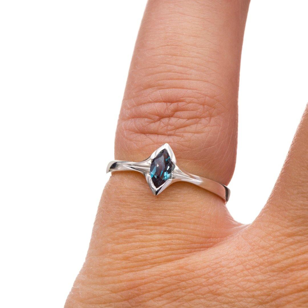 Chatham Marquise Alexandrite Semi-Bezel Solitaire Sterling Silver Engagement Ring, ready to Ship - Nodeform