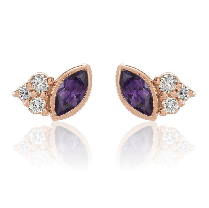 Marquise Chatham Alexandrite & Diamond Cluster Gold or Platinum Leaf Stud Earrings