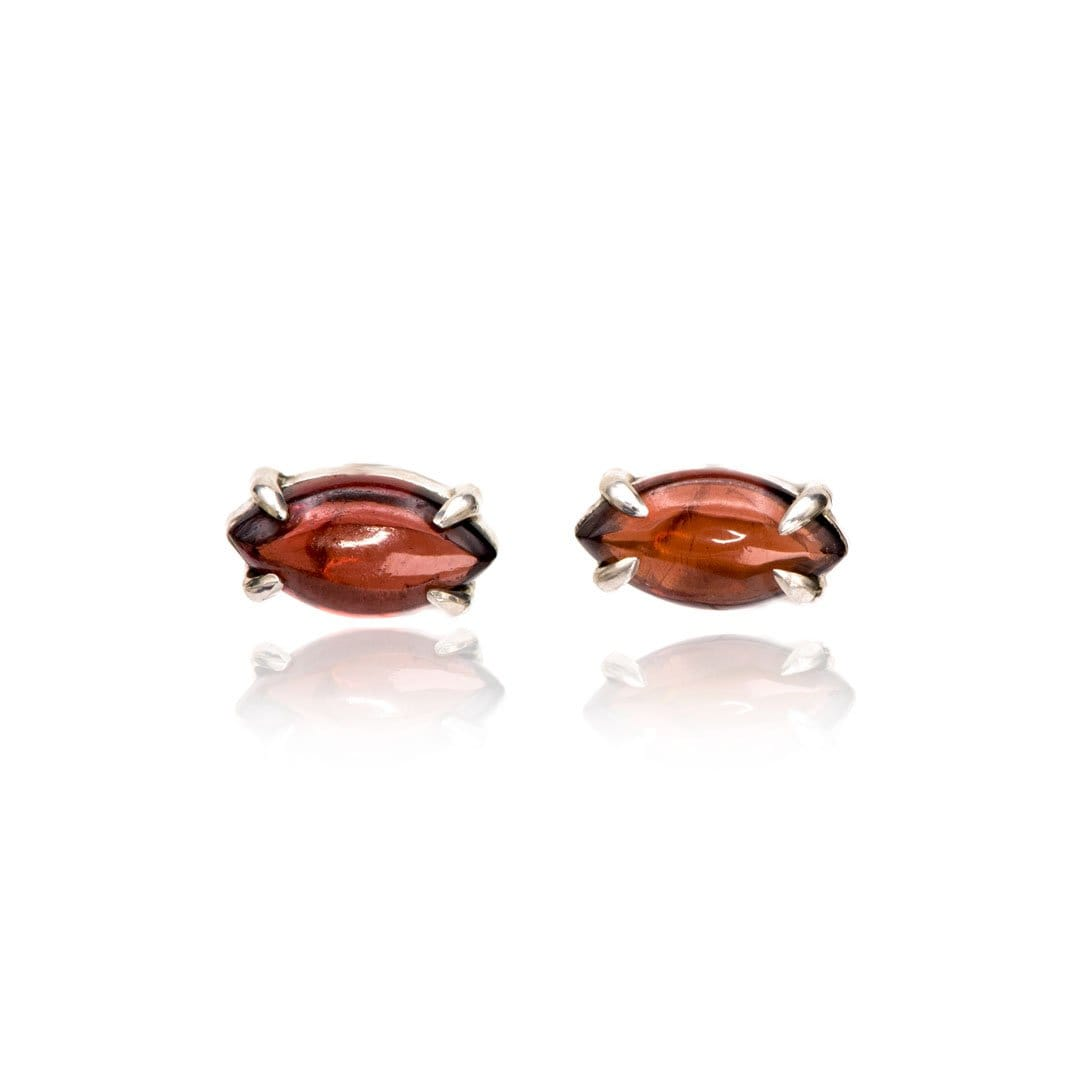 Marquise Garnet Cabochon Stud Earrings in Sterling Silver, Ready to Ship