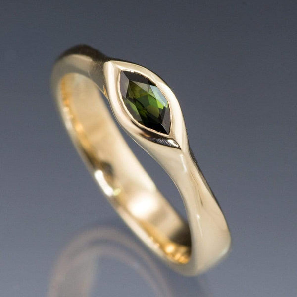 Marquise Green Tourmaline Bezel Solitaire Gold Engagement Ring