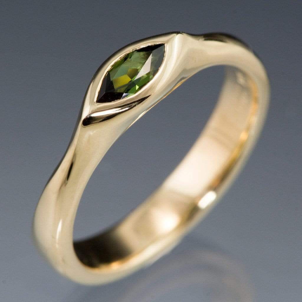 Marquise Green Tourmaline Bezel Solitaire Gold Engagement Ring - by Nodeform