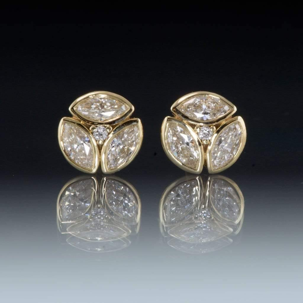 1/2CTW Marquise Diamond Bezel Set Cluster Stud Earrings - by Nodeform