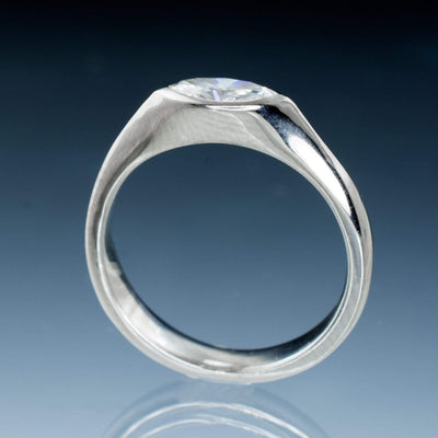 Marquise Moissanite Bezel Engagement & Wedding Ring Bridal Set - by Nodeform