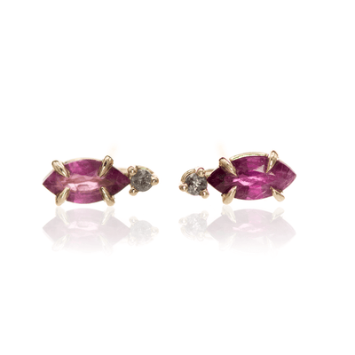 Marquise Pink Sapphire & Gray Diamond 14k Yellow Gold Prong Set Basket Stud Earrings, Ready to Ship