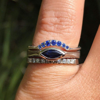 Marquise Blue Sapphire Bezel Solitaire Engagement Ring
