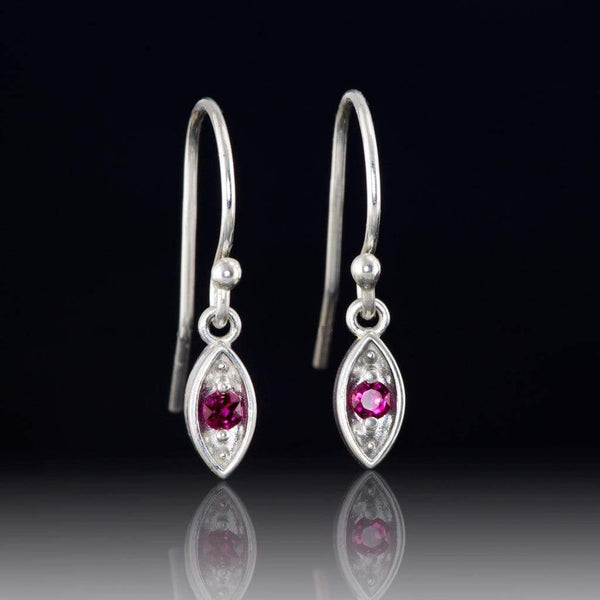 Chatham Ruby Sterling Silver Marquise Shape Dangle Earrings