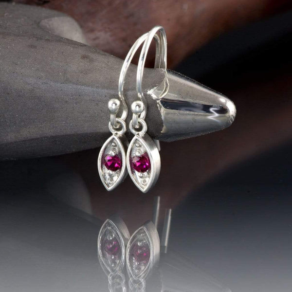 Chatham Ruby Sterling Silver Marquise Shape Dangle Earrings - by Nodeform