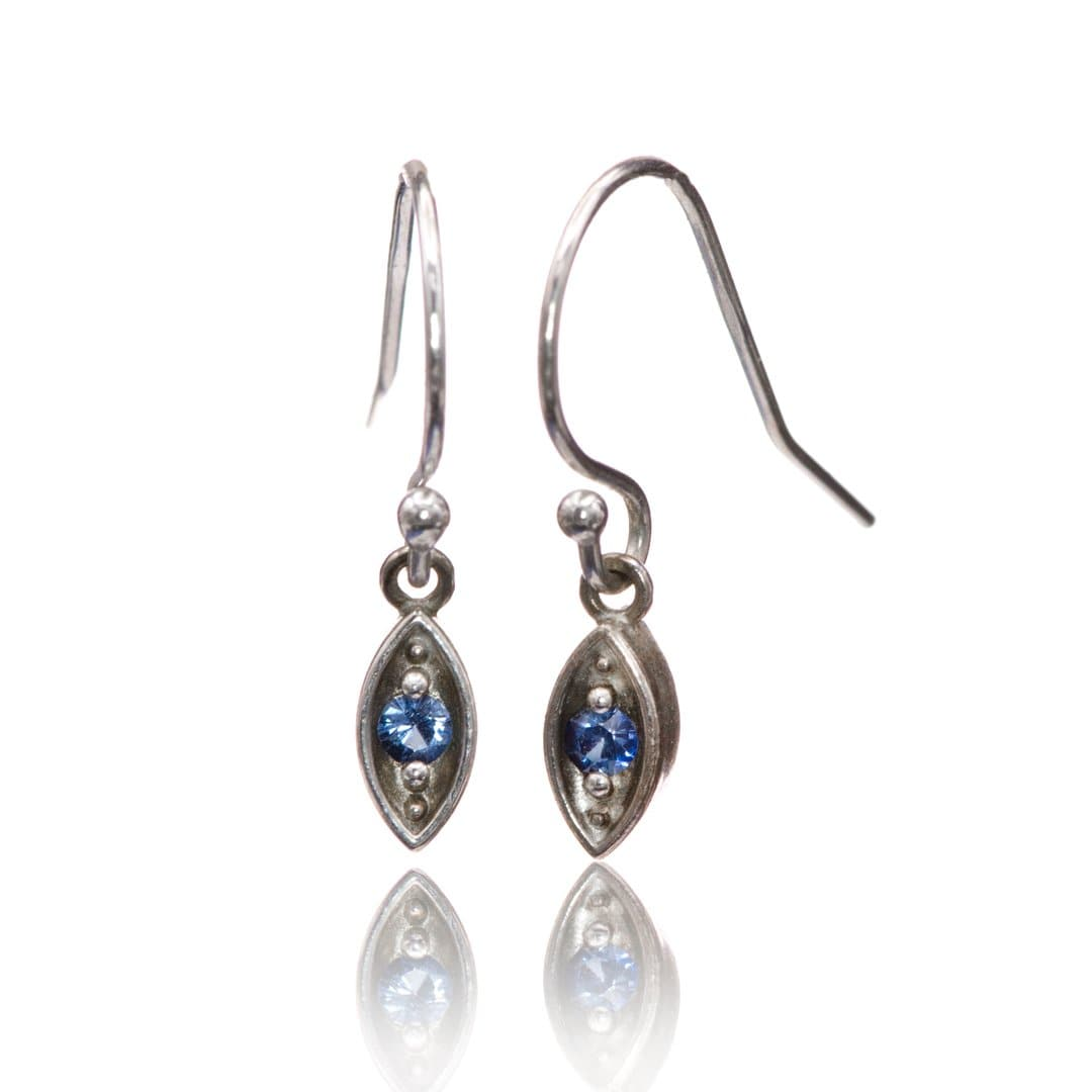 Blue Sapphire Sterling Silver Marquise Shape Dangle Earrings
