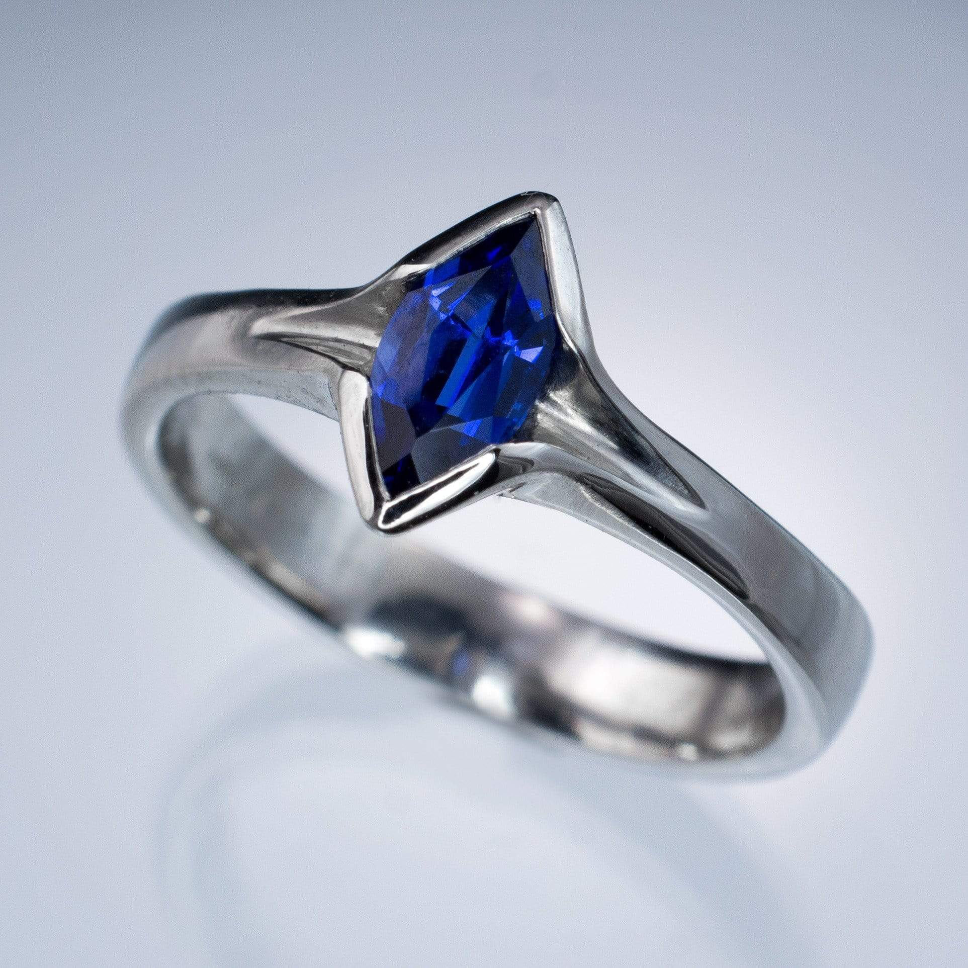 Chatham Marquise Blue Sapphire Semi-Bezel Solitaire Engagement Ring - by Nodeform