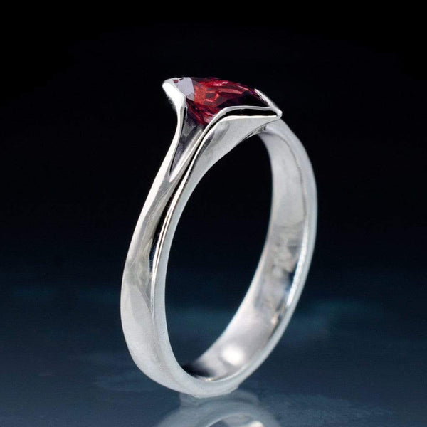 Marquise Ruby Semi-Bezel Solitaire Engagement Ring