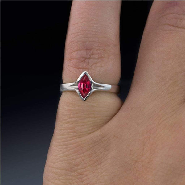 Marquise Ruby Semi-Bezel Solitaire Engagement Ring - by Nodeform