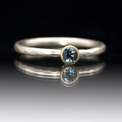 Blue Sapphire Milgrain Textured Gold Bezel Hammered Sterling Silver Ring, Size 4 to 9