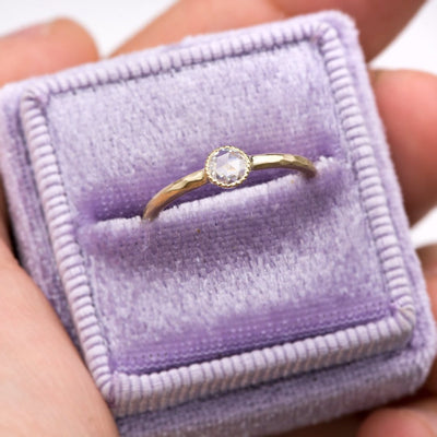 Rose Cut Moissanite Milgrain Textured Bezel 14kY Gold Hammered engagement Promise Ring, Size 4 to 9