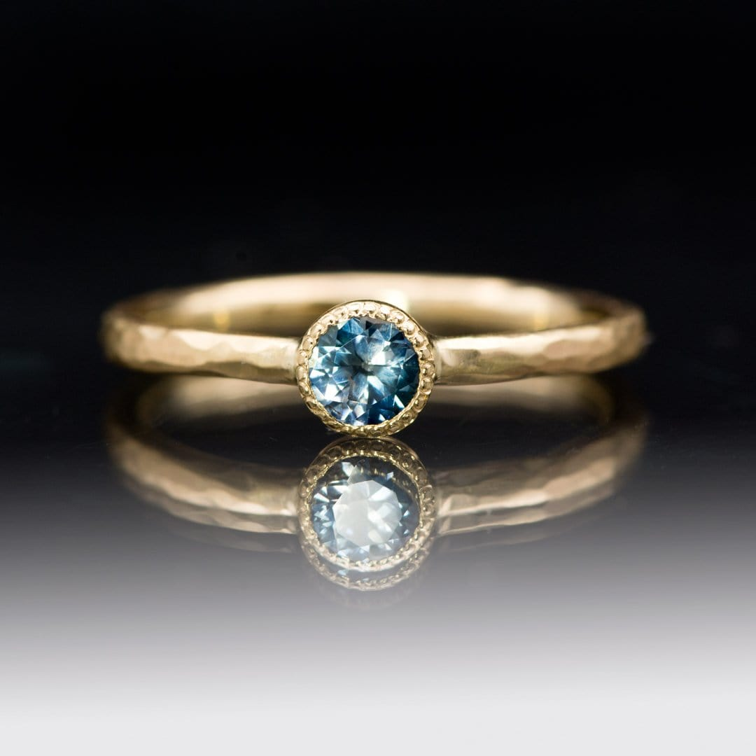 Green/Blue Teal Montana Sapphire Milgrain Textured Bezel Skinny Stacking Solitaire Ring