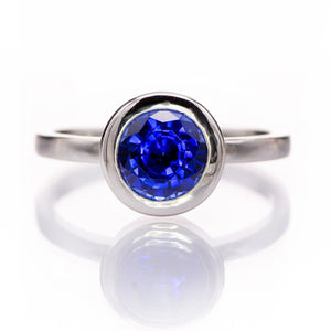 Minimal Round Chatham Blue Sapphire Wide Bezel Solitaire Engagement Ring