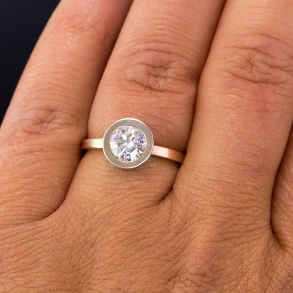 Minimal Mixed Metal Round Moissanite Wide Bezel Engagement Ring