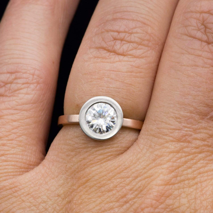 Minimal Mixed Metal Round Supernova Moissanite Palladium & Rose Gold Solitaire Engagement Ring, Ready to Ship