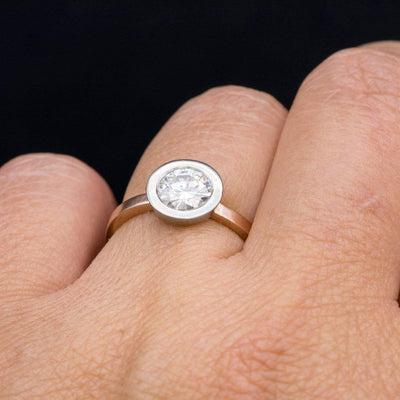 Minimal Mixed Metal Round Moissanite Wide Bezel Solitaire Engagement Ring