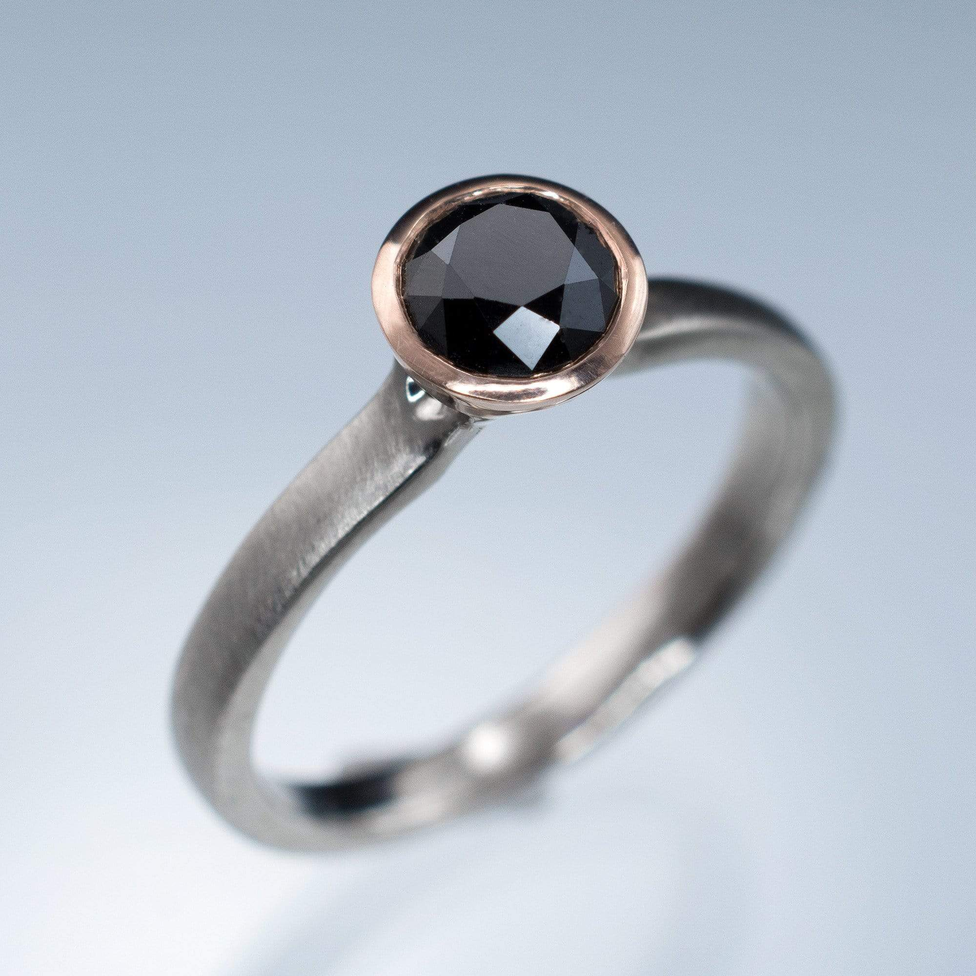 Mixed Metal Black Diamond Bezel Engagement Ring - by Nodeform